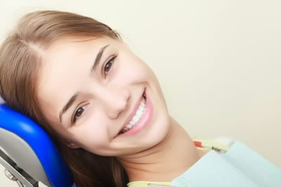 patient smiling at dental appointment